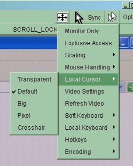 Video Settings Figure 5-10. Remote Console Options Menu:Cursor Opens a panel for changing the PS/2 IP-KVM switch video settings.