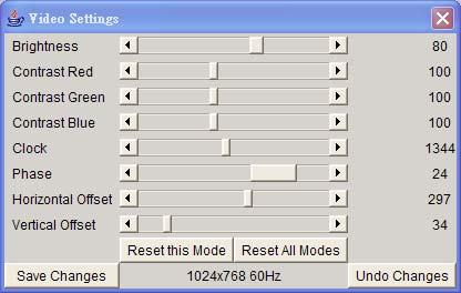 Video Settings through the remote console Figure 5-11.