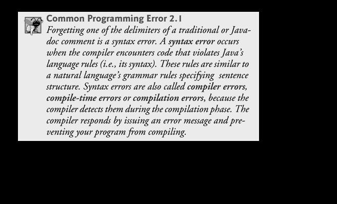} Comments // Fig. 2.1: Welcome1.java // indicates that the line is a comment. Used to document programs and improve their readability. Compiler ignores comments.