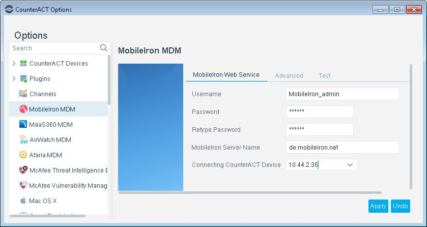 MobileIron Server Name Verify that the MDM server is accessible to the CounterACT Appliance. To specify a port for communication with the server, use the format: <server_name>:<port> For example: de.