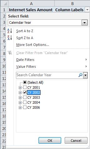 1. Filter the pivot table to show all months in 2002 only a. Click the drop down arrow in the Column Labels cell (B1) b.