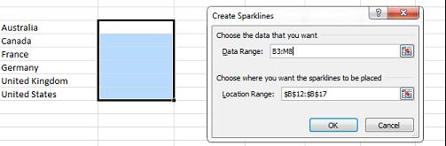 c. In the Insert ribbon click the Line button in the Sparklines group d. In the dialog choose a Data range from B3:M8 Figure 19 Create Sparklines Dialog e.