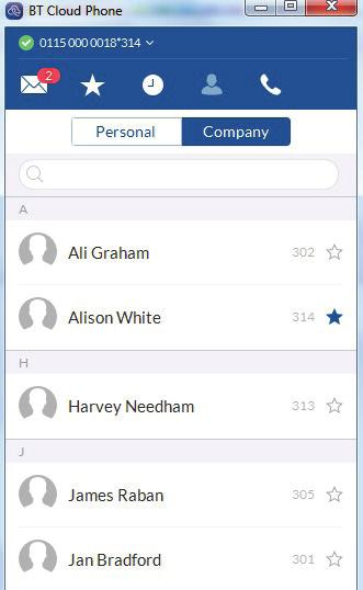 View your list of personal contacts or the people in your company directory.