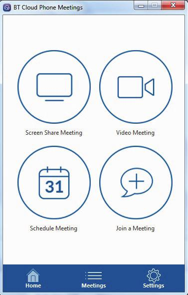 8. MEETINGS APP. The Meeting App is only available for Connect customers (up to 25 participants) and Collaborate customers (up to 50 participants).
