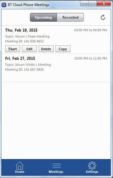 8. MEETINGS APP. Click on Meetings on the bottom menu to bring up details and start, edit, delete, or copy the meeting. 8.