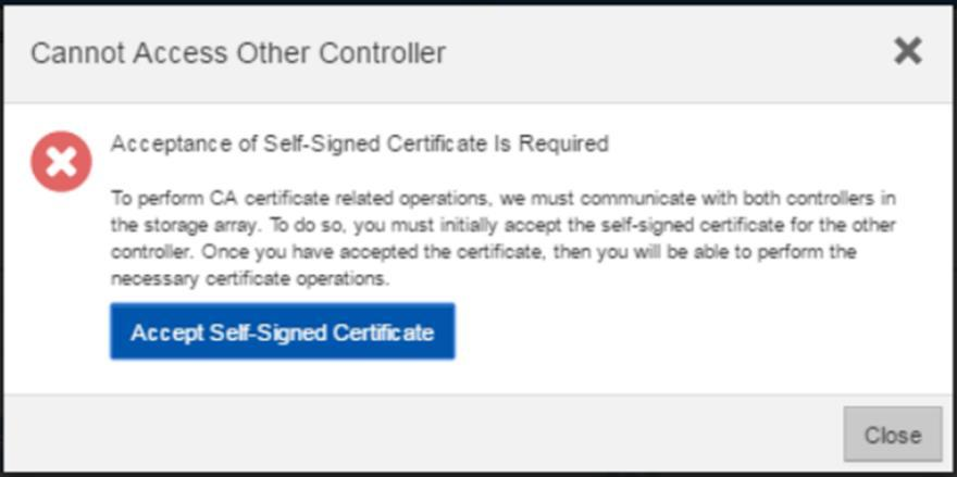 Figure 7) Initial step that is required to set up web server certificates. You must select the link to accept the self-signed certificate to proceed with setting up additional certificates.