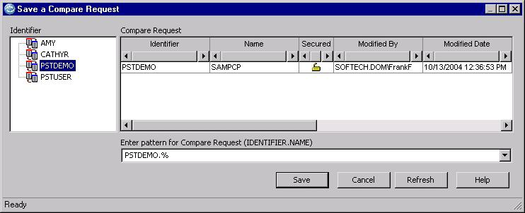 Save the Compare Request To save the Compare Request, click File Save from the menu in the Compare Request Editor to display the Save a Compare Request dialog.