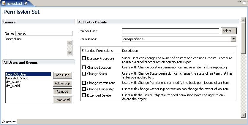 Managing Permission Sets (ACLs) The new permission set contains two default ACL entries in the All Users and Groups section, as follows: dm_owner The owner of the permission set.