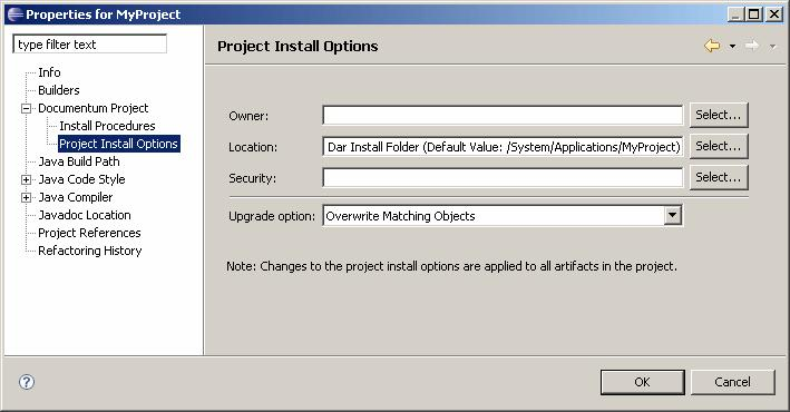Building and Installing an Application 5. Specify the install options for the project, as described in Table 48,