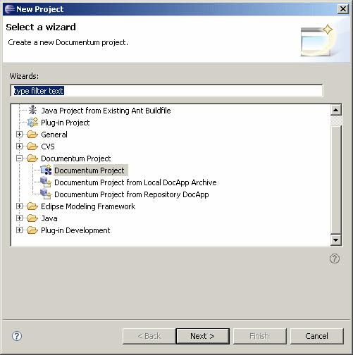 Managing Projects 3. Double click the Documentum Project folder to expand it, then select Project and click Next. The New Documentum Project dialog displays. 4.
