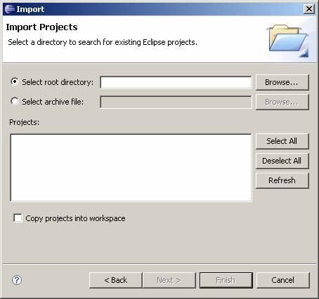 Next. The Import Projects dialog displays. 3.