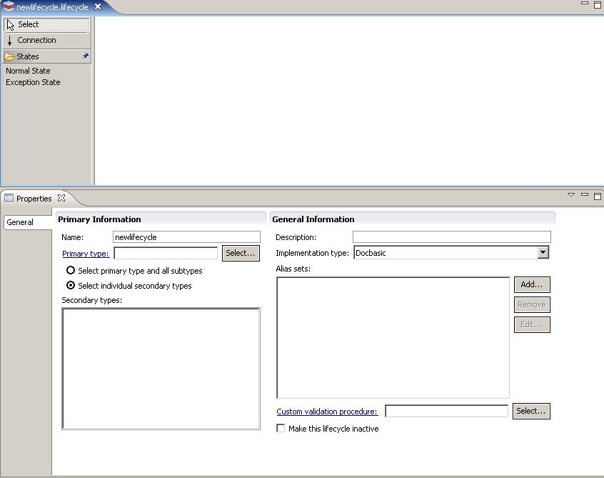 Managing Lifecycles 5. Click Finish. The lifecycle editor opens. Figure 3.