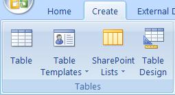 To create a table use the Create Tab and in the Tables Group
