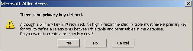 When prompted about a Primary Key select No we will come back to Primary Keys later You must be in the Data Sheet view to enter records, click on the Home icon and then the Datasheet view icon to