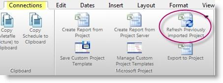 "Stay Up To Date as Project Dates Change with Refresh Refresh ""Refresh"" refers to updating symbols' dates, column text, and column values in Milestones Professional with the latest information in the"