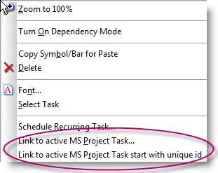 "The process involves adding dates (symbols) to the presentation Milestones schedule, and then ""tagging"" symbols with the Microsoft Project Unique ID (or other identifier field) followed by the name"