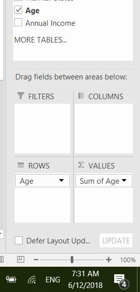 Next, drag the following fields to the different