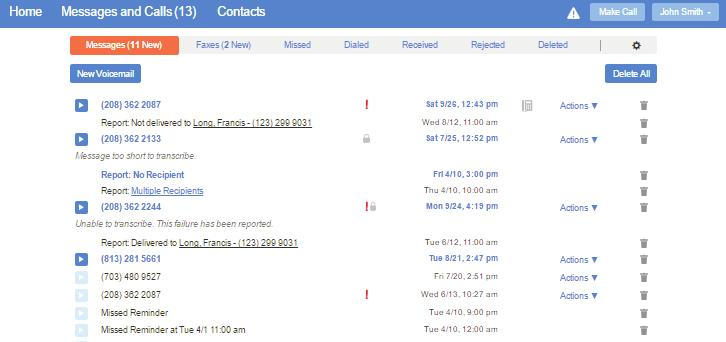 Messages and Calls The Messages & Calls page shows all recent call activity. The fastest way to add your contacts is to import them from your email program.
