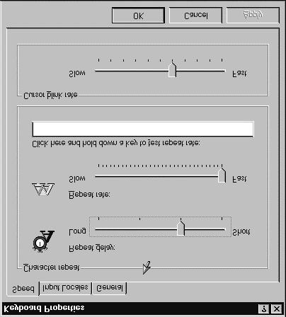 Lesson 20 - Customizing the Mouse Windows NT Basics ADJUSTING THE CURSOR BLINK RATE Windows NT allows you to adjust the rate at which the cursor blinks between a very slow blink and a very rapid