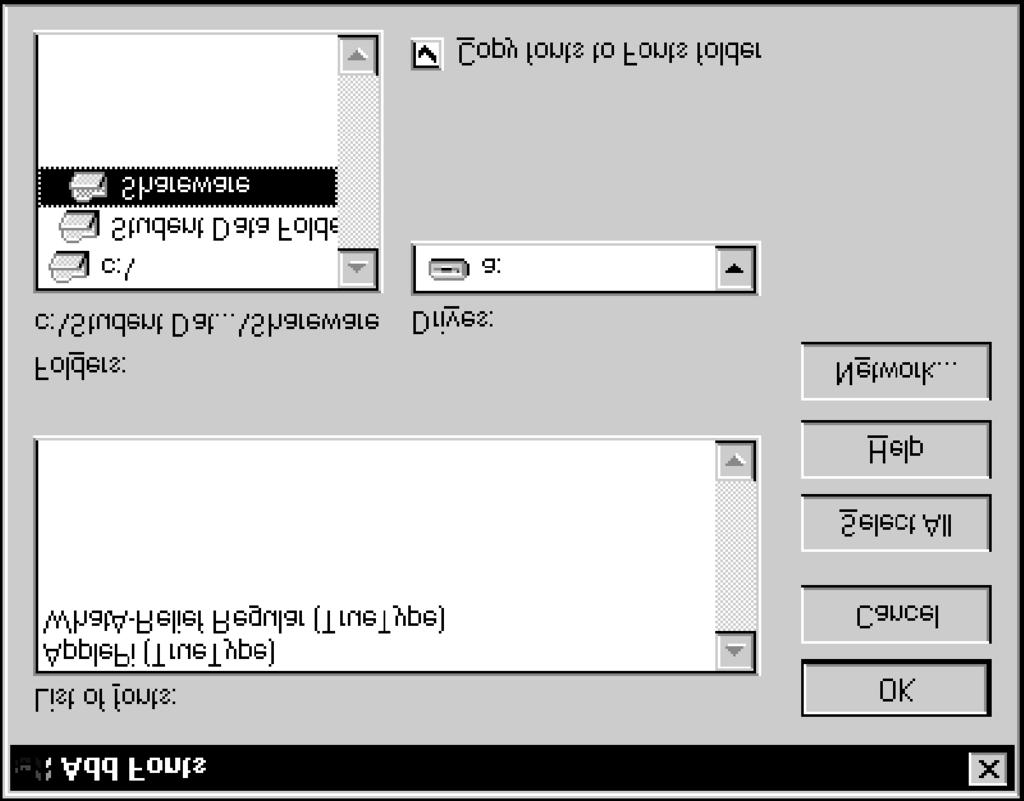 "Lesson 22 - Working with Fonts Windows NT Basics Adding new fonts "" If you do not check the Copy fonts to Windows folder option, you must use the fonts from the local or network drive in which they"