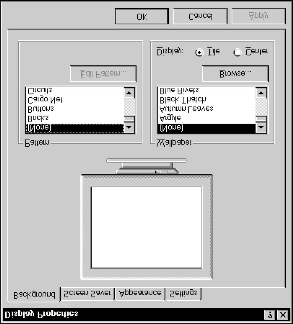 "Windows NT Basics Lesson 7 - Using Menus and Dialog Boxes Property sheets "" Select Apply if you want the Display Properties window to remain open so that you can continue to make other changes before"
