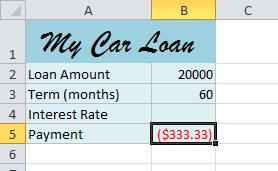 In this example, we're only using Rate, Nper (the number of payments), and Pv (the loan amount).