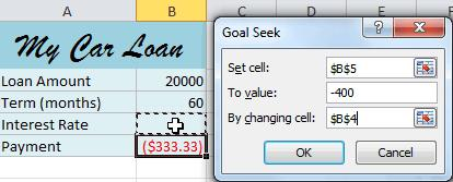 3. A dialog box will appear containing three fields: o o o Set cell: This is the cell that will contain the desired result (in this case, the monthly payment).