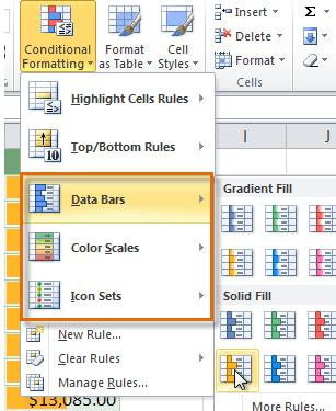 A drop-down menu will appear. 3. Select Data Bars, Color Scales, or Icon Sets. Then select the desired preset. 4.