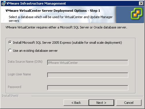 7 On the database selection page, select Install Microsoft SQL Server 2005 Express.