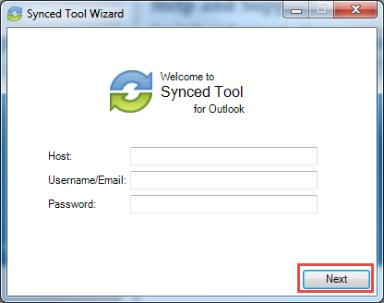 a. If prompted, enter the host name of your organization in the Host field (for example, syncedtool.com). b. In the Username field, enter the same username that you use to access the web portal. c.