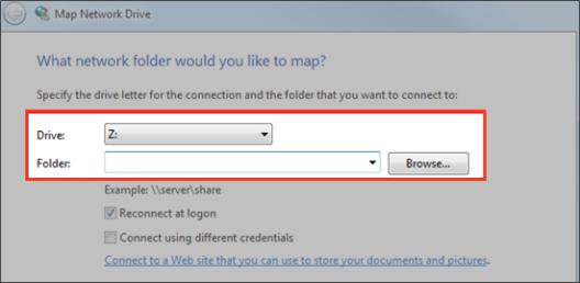 How to Map a Network Drive on a Windows Machine To map a drive on a Windows machine: 1. In your start menu, click Computer. The Computer dialog box displays. 2.