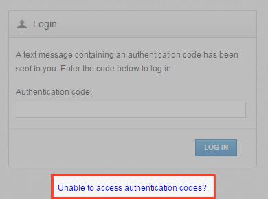 Note: Authentication codes are only valid for a limited amount of time. Make sure you enter your validation code promptly.