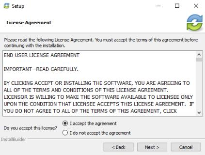 6. In the License Agreement screen, click the I accept the agreement radio button if you accept the license.