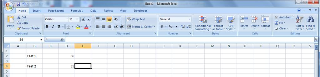 Working in a Spreadsheet 24 To work with a spreadsheet, you enter data in the cells of the spreadsheet. You enter data by clicking a cell and typing the data.