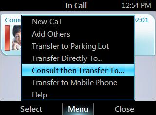 From the In Call screen, press Menu, and then select Transfer Directly To. 2. Enter a phone number or select a contact, and then press Call.