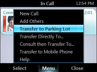 HP 4120 Phone User Guide Transfer a Call Transfer a call to a parking lot Note If your system is set up for it, you can park