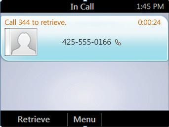 From the In Call screen, press Menu, and then select Transfer to Parking Lot. The call is placed on hold.