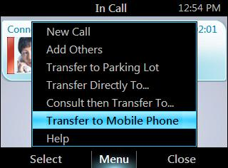 ENGLISH HP 4120 IP Phone User Guide Join a Meeting from the Calendar Transfer a call to a mobile phone From the In Call screen, press Menu, and then select Transfer to Mobile Phone.