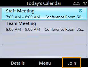 HP 4120 Phone User Guide Access Phone Settings and Help 2. From the Today s Calendar screen, choose the meeting that you want to join, and then press Join.