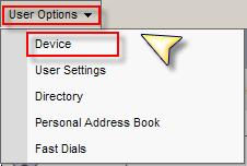 Changing your Line Setting: 1. Select User Options. 2. Device 3.
