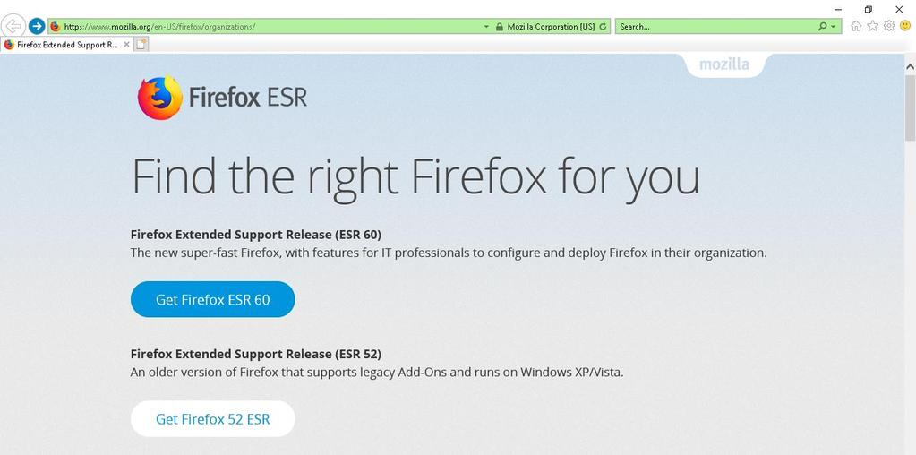 Downloading/ Installing Firefox Extended Support Release (ESR) Version 52 As of version 52, Firefox no longer supports the Microsoft Silverlight browser plugin, which is required for the Patient