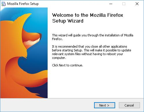 6. Click [Next] to start the Firefox