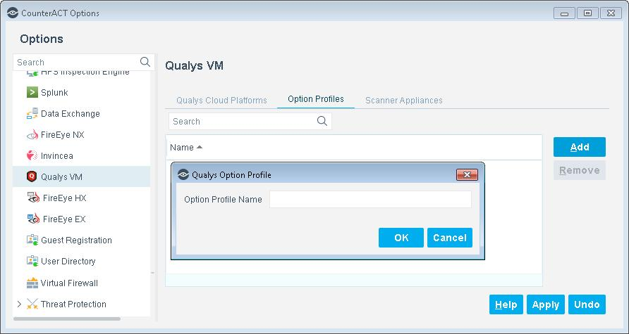 2. Enter the name of an Option Profile exactly as it appears in your Qualys Cloud Platform configuration. 3. Select OK. The Option Profile name appears in the Option Profiles pane.