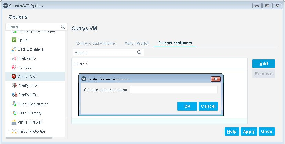 2. Enter the name of a Scanner Appliance exactly as it appears in your Qualys Cloud Platform configuration. 3. Select OK.