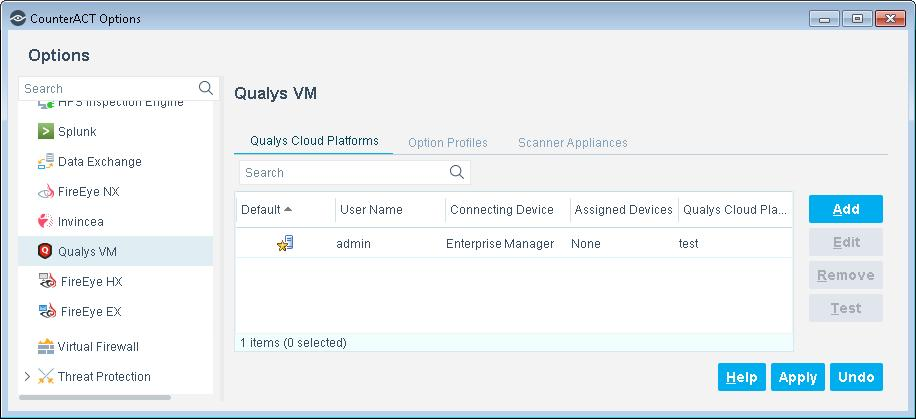 4. Do the following: a. Add Qualys Option Profiles. b. Add Qualys Scanner Appliances. c. Add a Qualys Cloud Platform. d. Define Test Configuration Parameters.