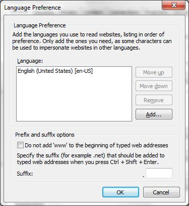 3. Click Add. The Add Language window is displayed. 4.