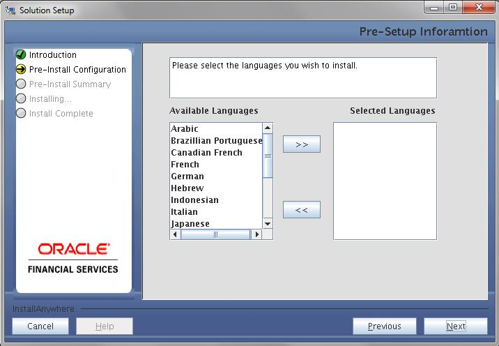 4. This screen displays the information on the list of languages to be installed.