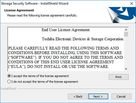 5 The License Agreement window will appear.