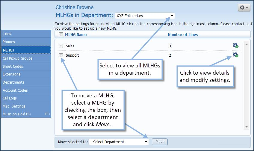 Figure 16 Admin MLHG display From the MLHG display screen you can manage all of the MLHGs in your business group or department.