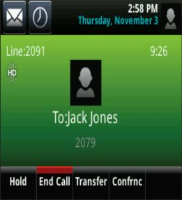 The soft keys apply to the highlighted call. Active Call View If a phone line has only one call and it s active you can access Active Call View.
